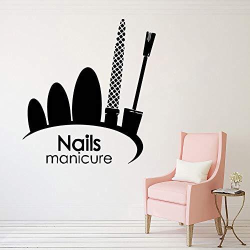 Wand Fenster Aufkleber Nail Art polnisch Mural nagelstudio dekor nägel maniküre Logo Vinyl wandaufkleber schönheitssalon Aufkleber 42x46 cm