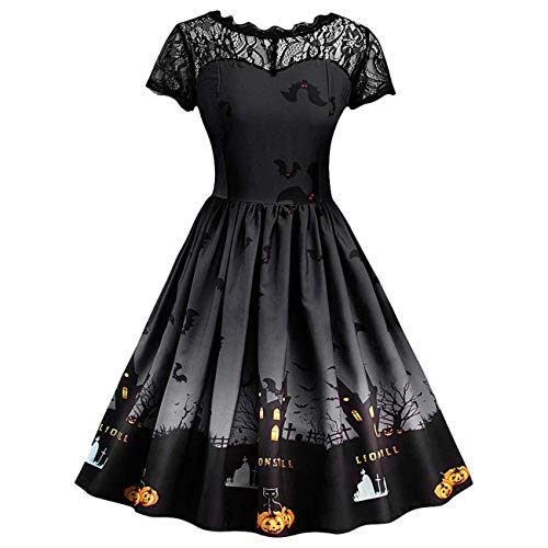 (HhGold Frauen-reizvolle Kleider, Halloween-Damen-Kurzschluss-Hülsen-Retro Spitze-Weinlese-A-Linie Kürbis-Schwingen-Kleid (Farbe : Schwarz, Größe : 3X-Large))