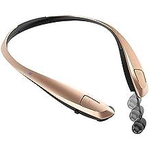 Auriculares Bluetooth Rymemo Automático Cable Retracción Metálico-Sensación Superficie Música Estéreo Deportivos/Correr Auricular Vibración Banda Para El Cuello Para Iphone y Android Moviles Dispositivos Habilitados Para Bluetooth Teléfonos Inteligentes