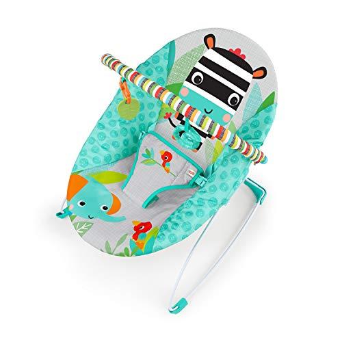 *Bright Starts Babywippe, Zig Zag Zebra mit beruhigenden Vibrationen, abnehmbarem Spielbogen, 2 Spielzeugen und maschinenwaschbarem Sitzpolster, türkis*