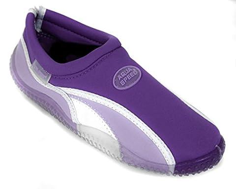 AQUA-SPEED® BEACH GIRL Chaussures d'Aqua (Femme Natation Plongée Kayak Piscine), Couleur:Violet / Lilas;Badelatschen grösse:40
