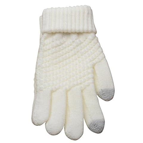 Saingace gloves Man Frauen Strick Wolle Winter Keep Warm Fäustlinge (Weiß)