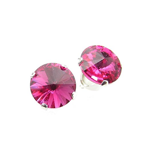 Sterling Silver stud earrings expertly made with sparkling Fuchsia crystal from SWAROVSKI for Women