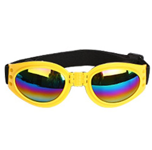 QQBL Pet Gläser Folding Dog Sonnenbrille Polarisierte UV400 Kunststoff Nylonband Sonnenbrille Wind Schutzbrille Sechs Farbe Optional Pet Schmuck 0,038 Kg,Yellow