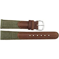 Watch Strap in Brown Leather - 18mm - - buckle in Silver stainless steel - B18BroItr39S