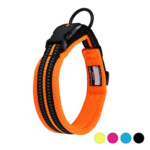 Kaka Mall Hundehalsband Verstellbare Nylon Hunde Halsband Atmungsaktives 3M Reflektierend Halsband (S,Orange)