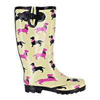 Wyre Valley Womens Pattern Animal Wellingtons Wellies Muck Boots Dachshund UK5