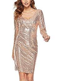 61d622cb13288 YL Style Damen Langarm V-Ausschnitt Paillettenkleid Mode Sexy Wrap  Glänzendes Partykleid