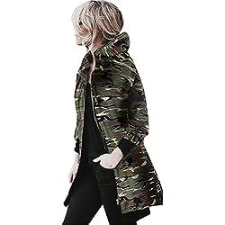 Abrigo de Camuflaje, Longra ❤️ Las mujeres nuevo estilo camuflaje capa de la chaqueta del otoño de la calle del invierno de la chaqueta de las mujeres chaquetas casuales (L, Multicolor)