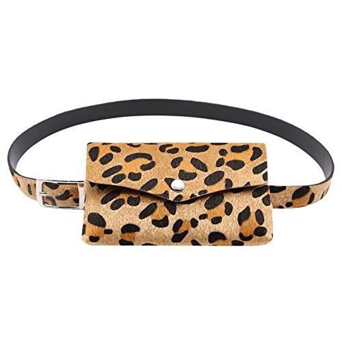 Riñoneras Mujer Mini Bolsillo Estampado de Leopardo Monedero Mujer Pequeño Multiusos Carteras Bolsos Diario Vida Clutches Bolsos de Mano Simple (Marron Claro)