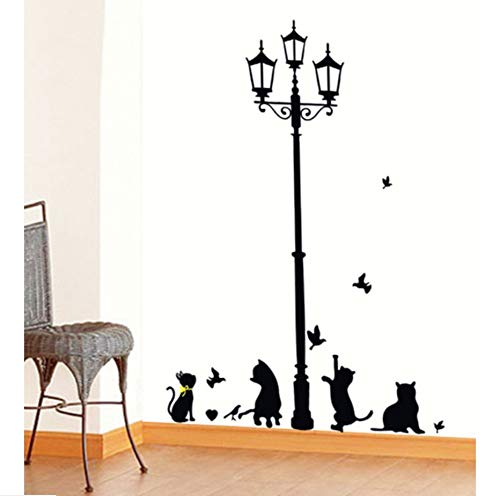 Naughty Cats Birds And Street Light Lamp Post Wall Stickers Home Decoration School Room Kindergarten Wall Sticker143X97Cm