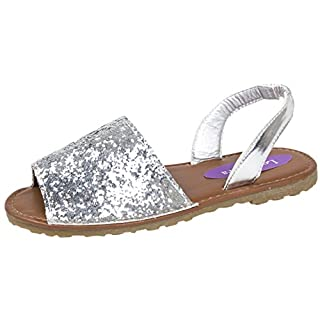Lora Dora Girls Fancy Menorcan Spanish Sandals Silver 1