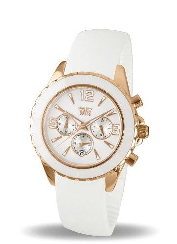 Davis - Montre Femme Blanche Sport Mode - Lunette Ceramique - Chronographe Etanche 50M - Bracelet Rubber Blanc