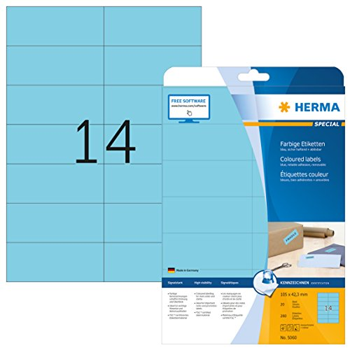Herma 5060 Farbetiketten ablösbar (105 x 42,3 mm auf DIN A4 Papier matt) 280 Stück auf 20 Blatt, blau, bedruckbar, selbstklebend