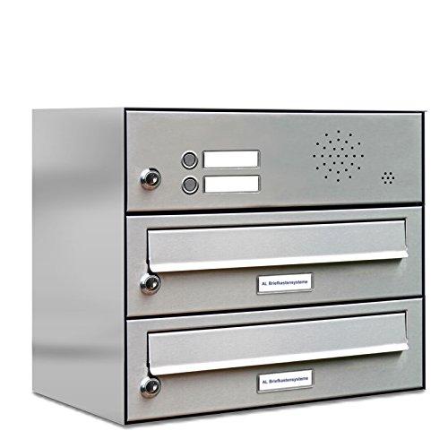 AL Briefkastensysteme 2er Briefkastenanlage mit Klingel Edelstahl, Premium Briefkasten DIN A4, 2 Fach Postkasten modern Aufputz