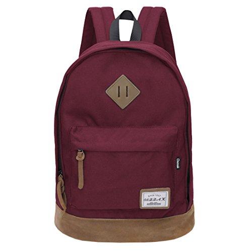 Rucksack Schulrucksack Jugendliche Backpack Rucksäcke mit Laptopfach für Camping Outdoor Sport (Wein)