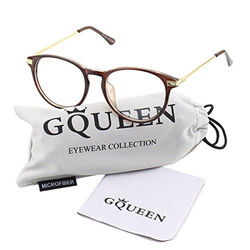 GQUEEN Modische Schlüsselloch Metallbügel Hornbrille Klare Gläser Brille PN2