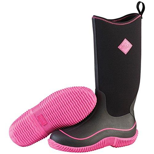 Muck Boots Hale Damen Kniehohe Stiefel mit warmem Futter, Schwarz (Black/Hot Pink)-42 EU (8 UK) - Wellie Warmers