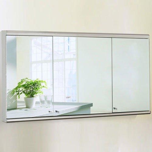 Mobiletto per il bagno, in acciaio inox, con fissaggio a parete, dotato di 3 ante, superficie esterna a specchio, larghezza: 1200 mm
