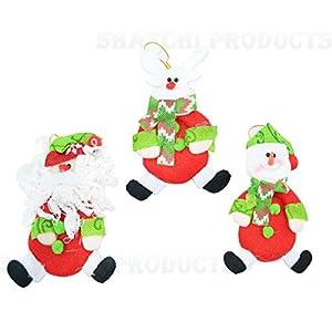 Shatchi 6113-Christmas - Juego de 3 adornos para árbol de Navidad hechos a mano, diseño de Papá Noel, muñeco de nieve, reno, osito de peluche, multicolor