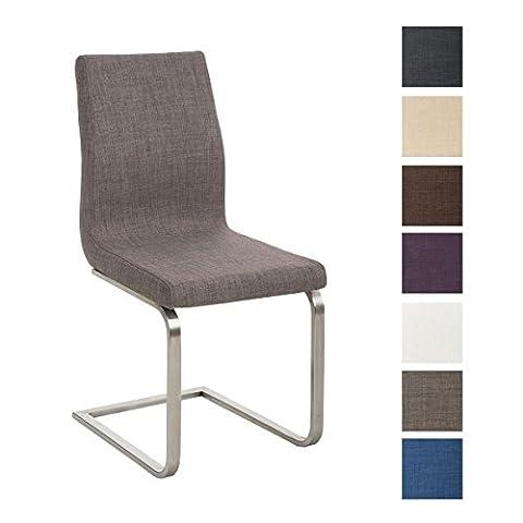 CLP Design Esszimmer-Stuhl BELFORT, Edelstahl Freischwinger Stuhl, Stoffbezug, FARBWAHL Grau (Stoffbezug Für Stühle)