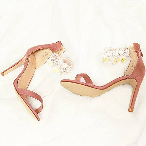 Ideal Shoes Sandales à Talon Effet Daim avec Bride Ornée de Pierres Nucia Noir