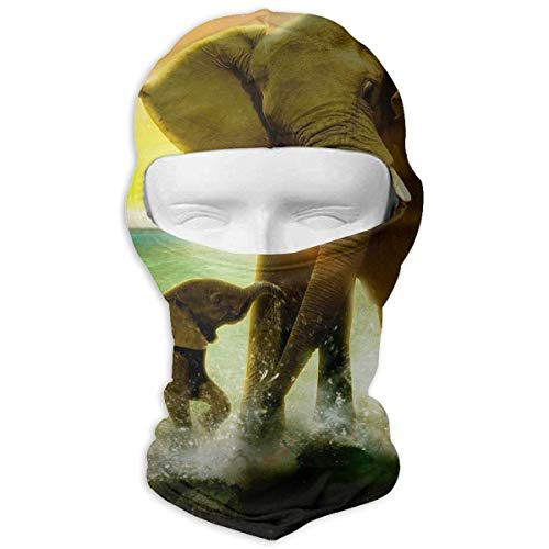 Animal Theme Safari Art Africa Elephant Balaclava Face Mask Hood for Skiing Camping Running Cycling Neck Warm (Safari Themes Für)