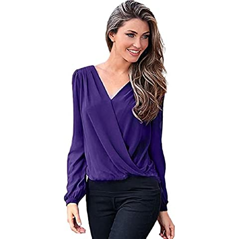 OverDose Mujeres de la camisa de la gasa del cordón del ganchillo de la blusa de manga larga Casual Tops