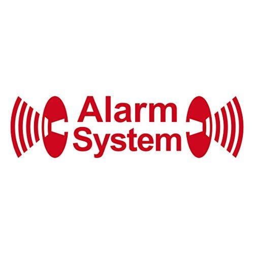2 Stück rot Alarm System Aufkleber die cut Tattoo Folie gespiegelt innenklebend