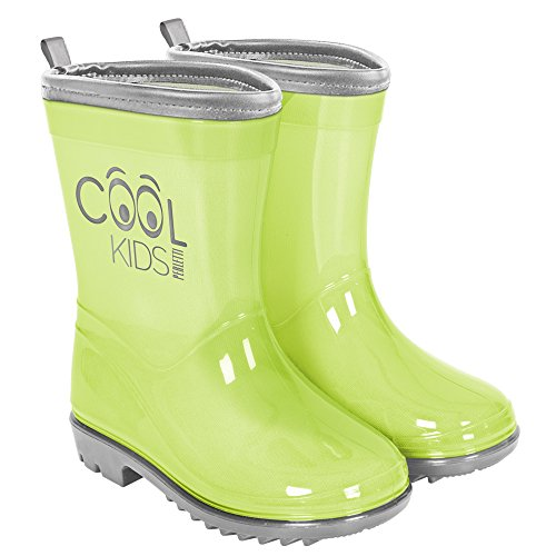 PERLETTI Rain Boots for Kids - Waterproof Wellies with Anti Slip Outsole - Neon Colour Wellington with Reflective Inserts - Cool Kids