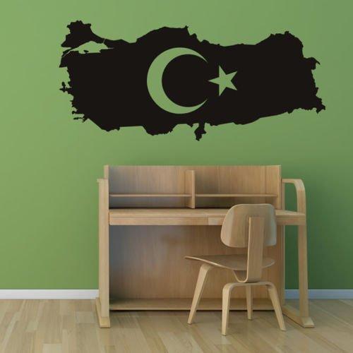 Turquía Mapa Pegatina Espana Decal Posters Arte Vinilo Tatuajes de Pared Etiqueta de La Pared Decoración Mural Turquía Mapa Pegatina 26X58CM
