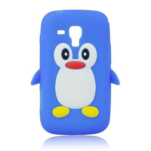 Silikon Silicon Case 3D Pinguin blau für Samsung Galaxy S4
