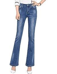 Reveryml Mujer Vaqueros Jeans Acampanados Pantalones Vaqueros de Campana de Mujer  Pantalones de Mezclilla Pitillo Estirar 82ead56b29c5