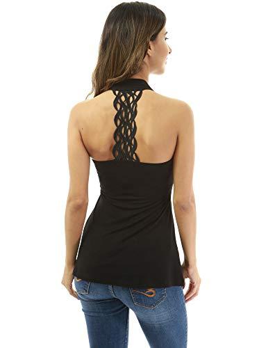 PattyBoutik Damen Häkelspitze-Einsatz-Neckholder-Crossover-Bluse (schwarz S 36/38) -