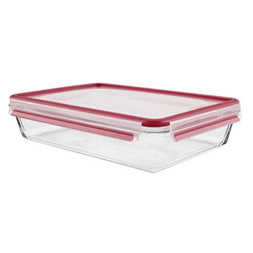 Tefal Master Seal Frischhalteglas, quadratisch, zur Lebensmittelaufbewahrung, transparent/rot, Glas, durchsichtig/rot, 3 l
