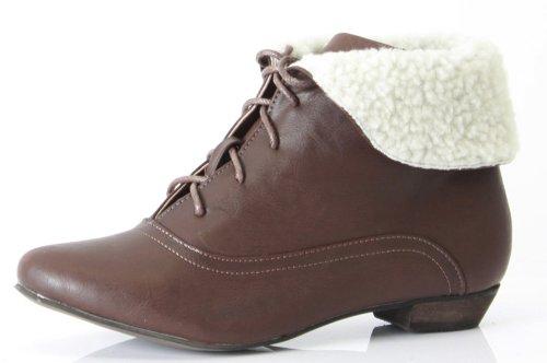 shoefashionista - Enfants Filles Bottes a Lacets Vintage Chaussures Plates Bottines Style B - Marron