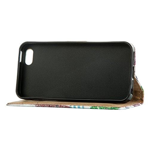 MOONCASE Étui pour Apple iPhone 5G / 5S Cuir Coque en Portefeuille Protection Housse de Étui à rabat Case RX25 RX08 #0308