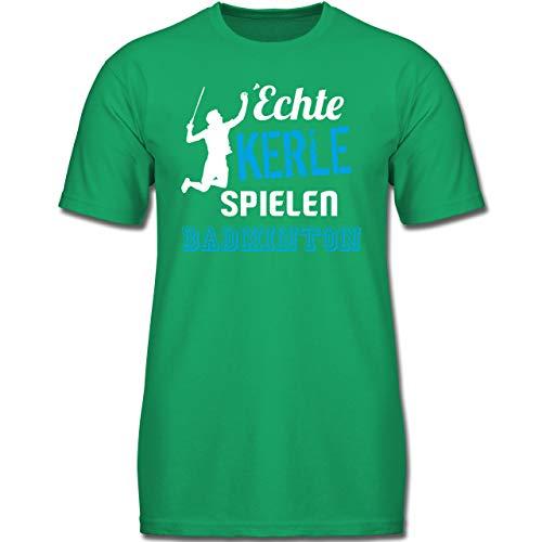 Sport Kind - Echte Kerle Spielen Badminton - 152 (12-13 Jahre) - Grün - F130K - Jungen Kinder T-Shirt