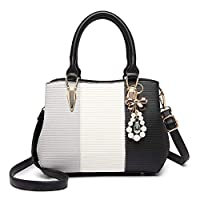 MISS LULU Fashion Handbag Stripe Pattern Leather Bag With Decoration, Black
