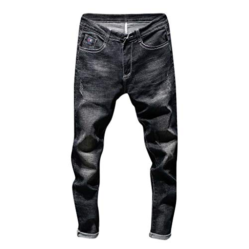 Dorame uomogo jeans da uomo casual pantaloni di jeans da uomo casual in denim con cerniera elegante - nero