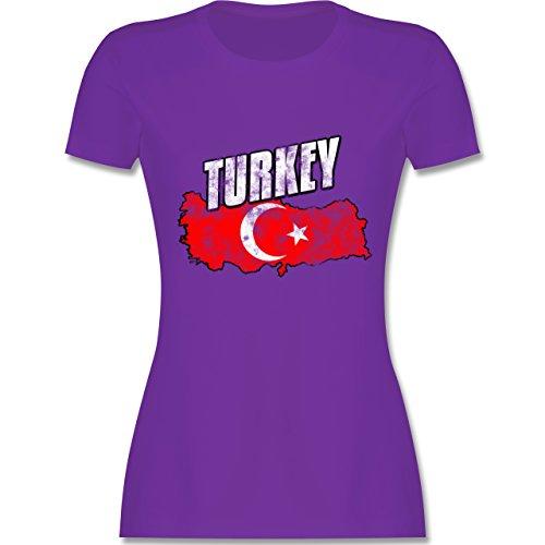 Länder - Turkey Umriss Vintage - tailliertes Premium T-Shirt mit Rundhalsausschnitt für Damen Lila