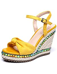 Zanpa Femmes Mode Compense Sandales Transparent Ete Chaussures Yellow Taille 36