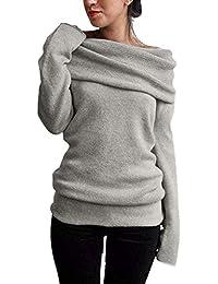 ZAMAC Mujeres Fuera del Hombro Suéter de Manga Larga Cuello Suéter de Punto Jersey ...