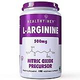 #8: HealthyHey L-Arginine 500mg, 120 Vegetable Capsules (Pack of 1)