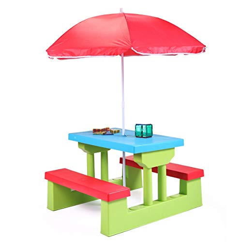 Parkland® Colourful Kids Childrens Picnic Bench Table Set With Parasol Outdoor Garden Furniture
