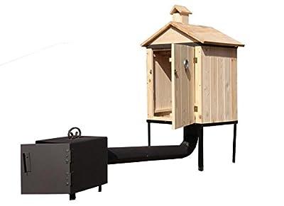 QLS RÄUCHEROFEN Traditioneller RÄUCHEROFEN aus Holz mit FEUERKAMMER und Dach Mobil Komplettset