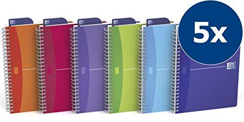 OXFORD Spiralbuch My Colours 5er Pack mit 4 Farben A5 kariert 90 Blatt transluzenter PP-Deckel Schreibblock Notizblock Collegeblock