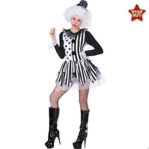 Kostüm Magier Weibliche - COSOER Weibliche Magier Rollenspiel Kostüm Clown Mit Perücke Bühnenkleidung Für Halloween,AsShown-XL
