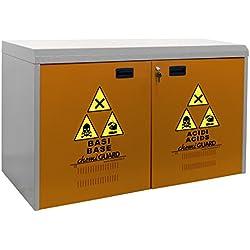 MOMOLINE CMG-100-SP CHEMIGUARD Meuble Bas Armoire de Sécurité pour le Stockage de Produits Chimique, Un Seul Compartiment, Orange