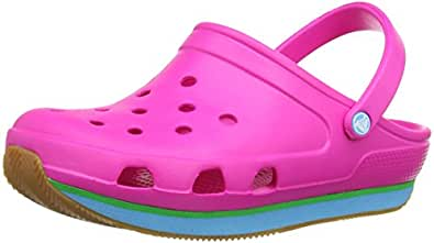 Crocs Retro, Sabots mixte enfant - Rose (Neon Magenta/Electric Blue) - 29-31 (C12-C13)